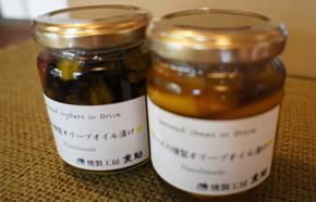 牡蠣&チーズの燻製オリーブ漬け
